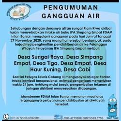 PENGUMUMAN Gangguan Air PDAM Intan Banjar 27 November 2020