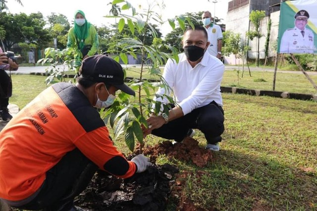 Gerakan penanaman sejuta pohon yang dilaksanakan serentak di Provinsi Kalsel (1)