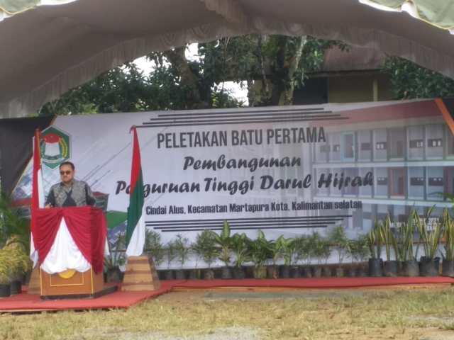 Sultan Banjar Pangeran Khairul Saleh menghadiri peletakan batu pertama Perguruan Tinggi Darul Hijrah