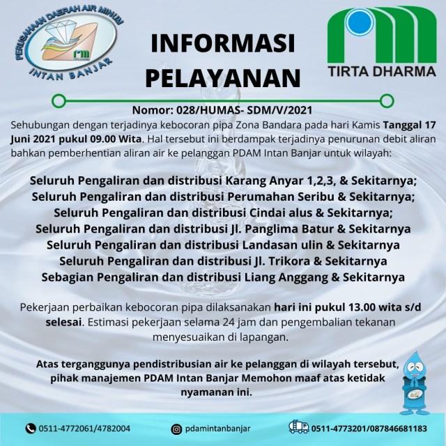 PDAM Intan Banjar - Pengumuman Gangguan AirKamis, 17 Juni 2021