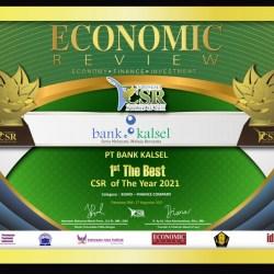 BANK KALSEL Raih CSR Award 2021, Sisihkan Ratusan Perusahaan