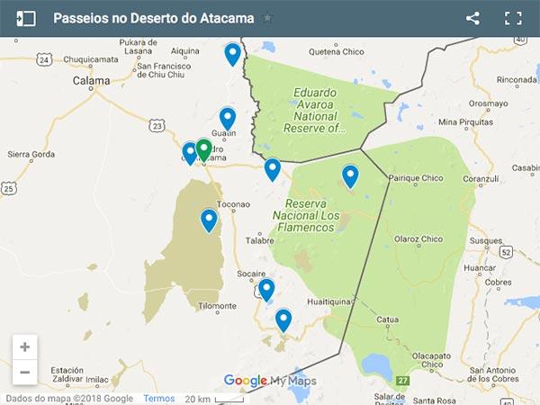 Localização dos Melhores Passeios no Deserto do Atacama