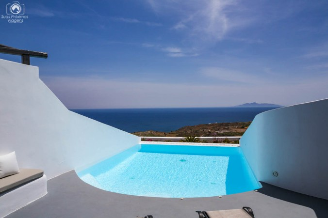 Vista da Suite do Amber Light Villas em Santorini