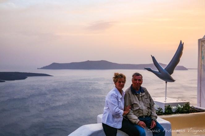 Vista em Thira em Santorini