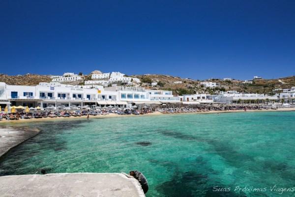 Praia de Psarou na Ilha de Mykonos Grecia
