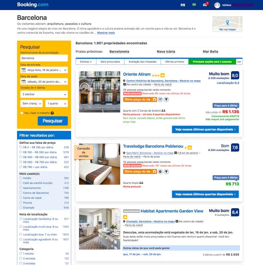 Listas de Opções antes dos Filtros em como reservar um hotel