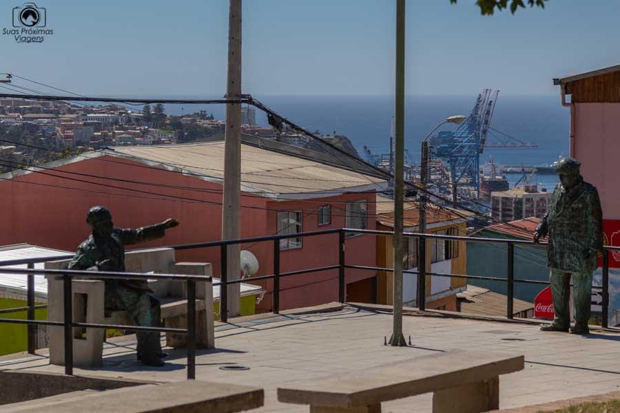 Imagem de uma escultura de Pablo Neruda em Valparaiso no Chile