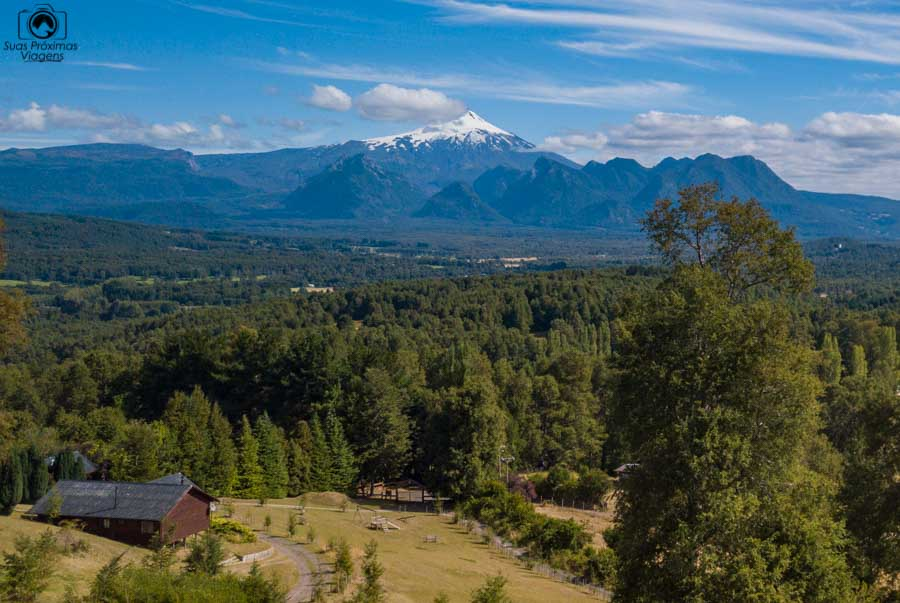 Imagem da vista do Villarica desde o Mirador los Volcanes