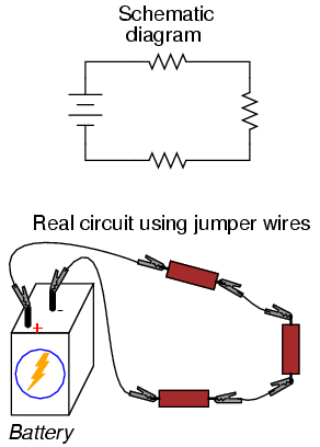 data cable wiring diagram usb to serial port building simple resistor circuits series and parallel if we wanted build a circuit with one battery three resistors the same point construction technique using jumper wires