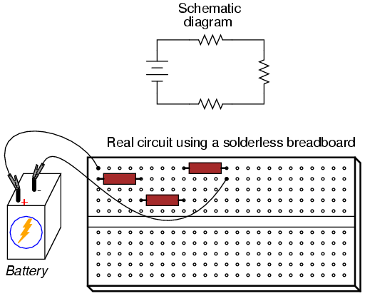 convert circuit diagram to breadboard fender n3 noiseless pickups wiring building simple resistor circuits series and parallel for example the three just shown could also be built on a like this