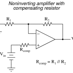 Circuit Diagram Of Non Inverting Amplifier Single Phase Motor With Capacitor Wiring Op Amp Practical Considerations Operational Amplifiers In Either Case The Compensating Resistor Value Is Determined By Calculating Parallel Resistance R1 And R2 Why Equal To