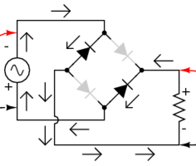 Full Wave Bridge Rectifier Electron Flow For Negative Halfcycles