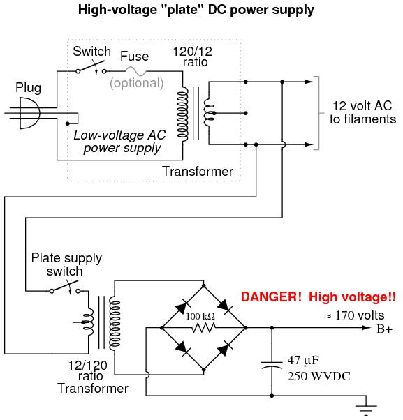 High Voltage Transformer Wiring Diagram Vacuum Tube Audio Amplifier Discrete Semiconductor