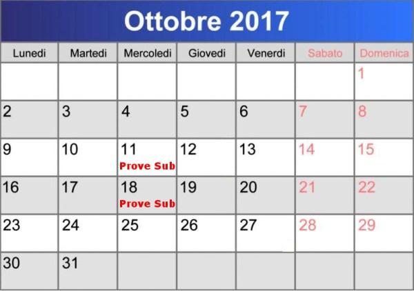 calendario prove sub ottobre 2017