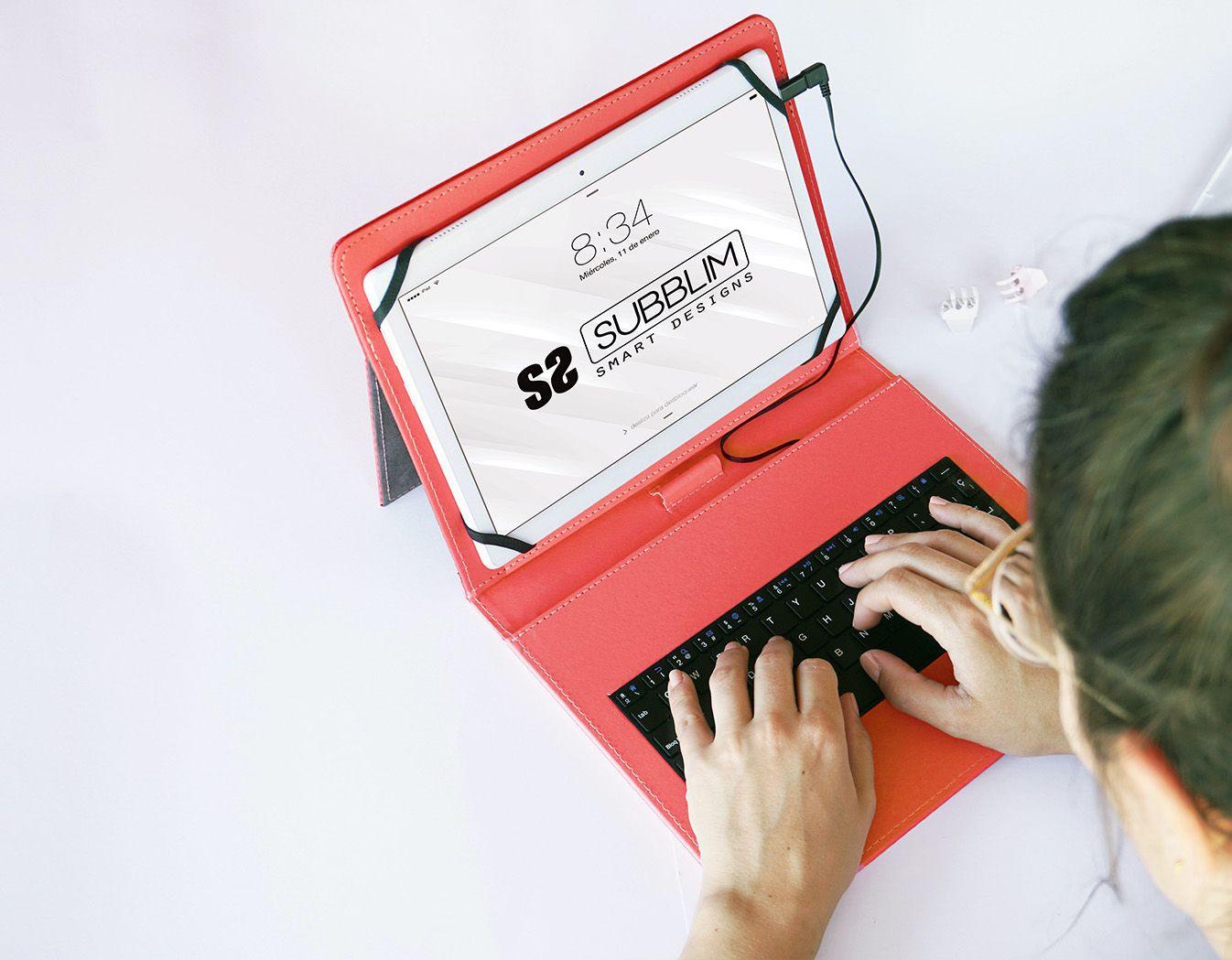 funda con teclado usb tipo C color rojo