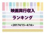 【映画興行収入ランキングTOP10】先週公開の「名探偵コナン」が1位に。<2017/4/15〜4/16>
