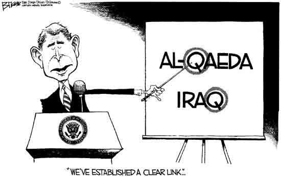 Bush and the Iraq war, cartoon