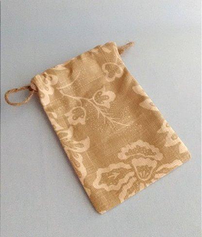 Neutral print cotton small reusable gift bag