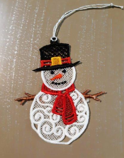 Snowman Lace Ornament in Color