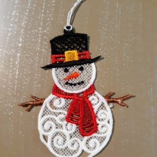 Snowman Lace Ornament in Color