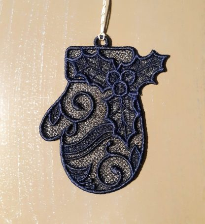 Navy Blue Christmas Mitten Lace Ornament