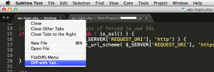 Diff with Tab - FileDiffs on Sublime Text