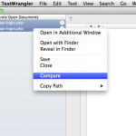 How to compare two files on textWrangler