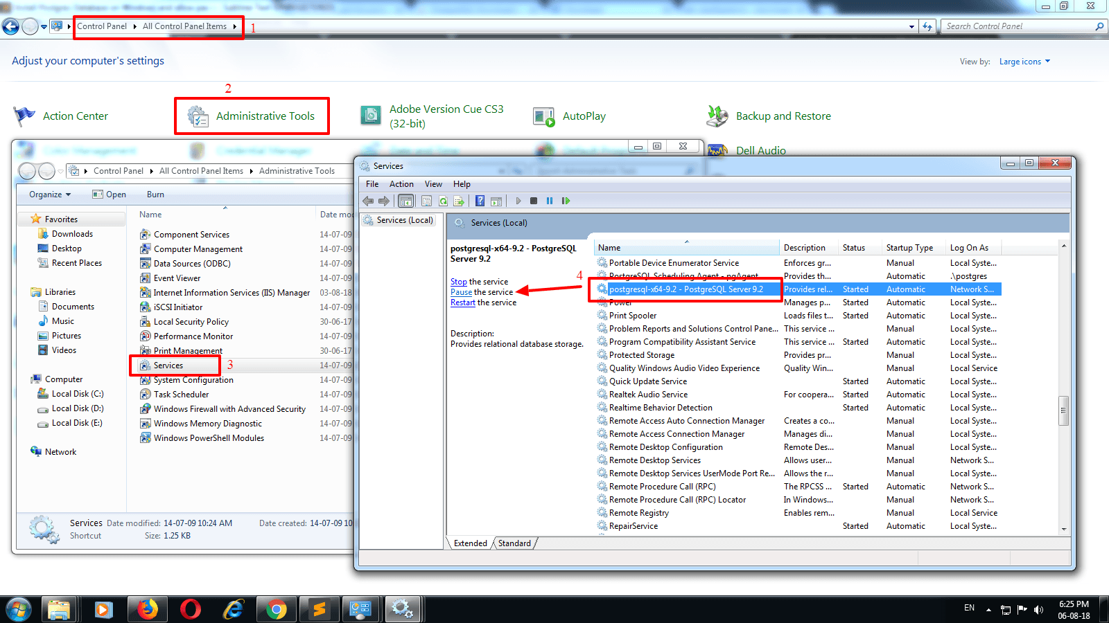 Install Postgres database on Windows and allow password less