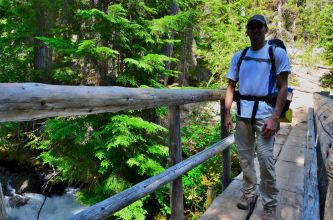 Me on a bridge over Mountaineer Creek