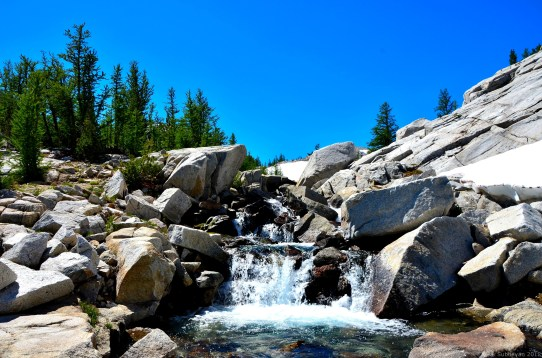 The stream falling down to lower Enchantments