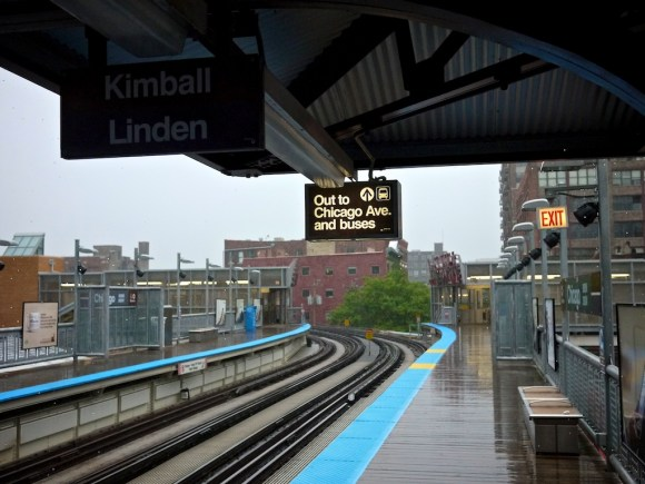 The Chicago Avenue CTA Brown Line station in a storm.