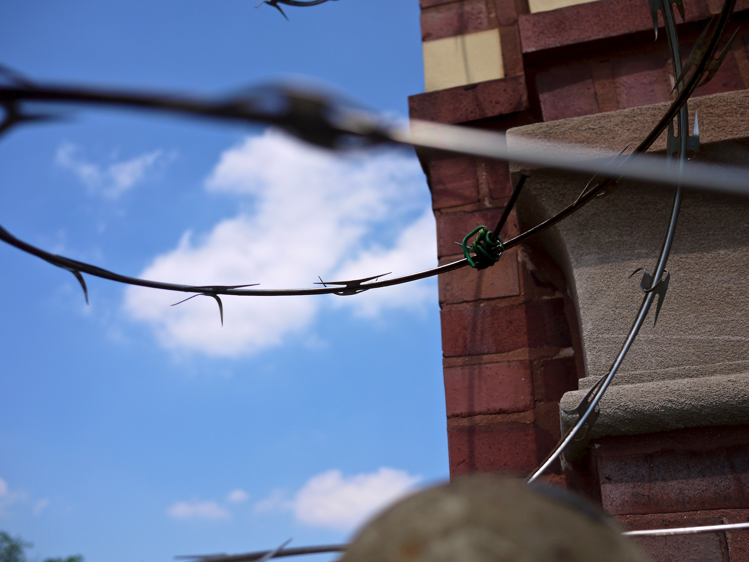 Close up on some barbed wire.