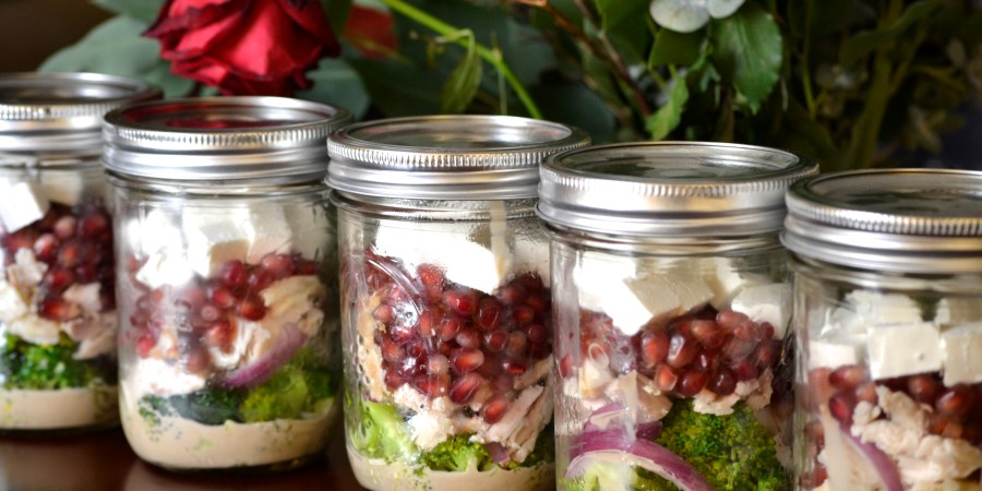 Primal Broccoli and Pomegranate Mason Jar Salad