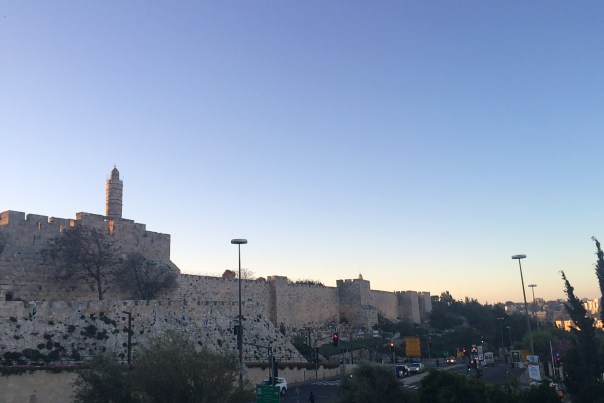 Watching the sun rise over the Old City in Jerusalem on Easter