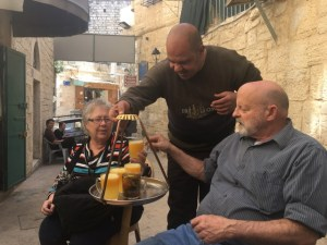 Travel with Kids - Taking a break from the souk in Bethlehem