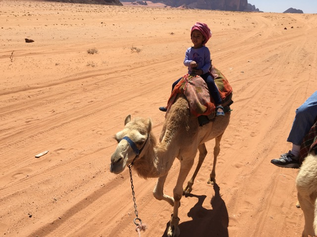 Travel with Kids - Camel ride in Wadi Rum