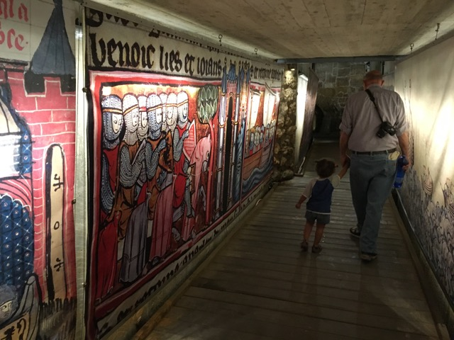Travel with Kids - Dad and Grace in the Templar Tunnel in Akko in Northern Israel