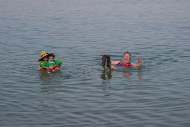 Travel with Kids - Mom, Grace, and I floating in the Dead Sea