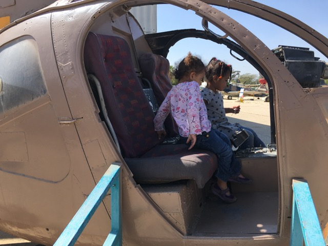 Playing in a helicopter at the Israeli Air Force Museum