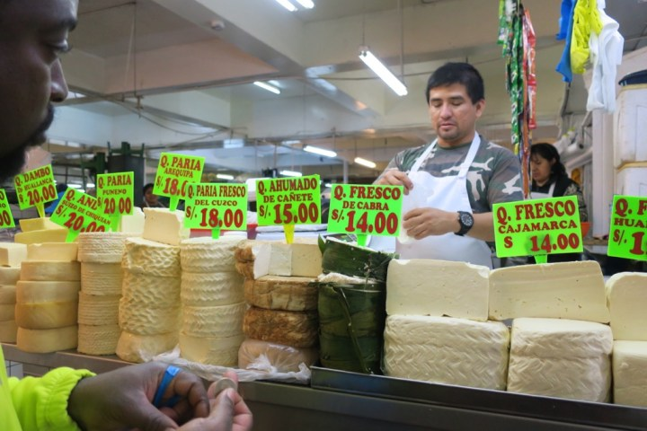 Cheeses at the Mercado Central, Miraflores, Lima