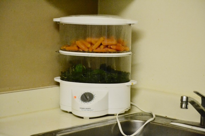 Carrots and Spinach in a Steamer, for making baby food in under two hours
