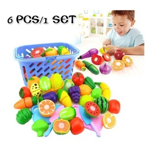 6 Pcs Fruit Cutting Set Role Play Pretend Reusable Fruit Vegetable Food Kitchen