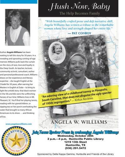 Poster for Angela Williams memoir, Hush Now, Baby
