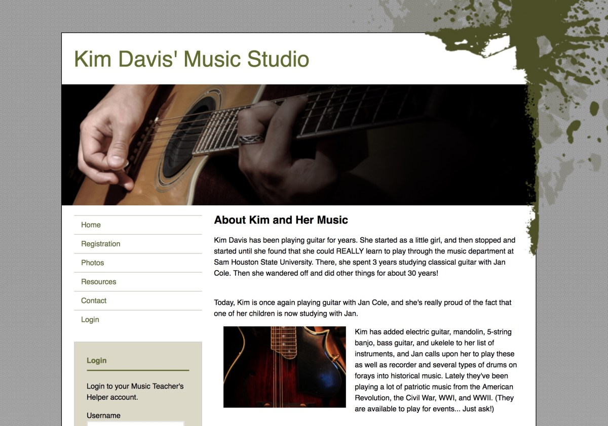Purpose-built websites for music teachers