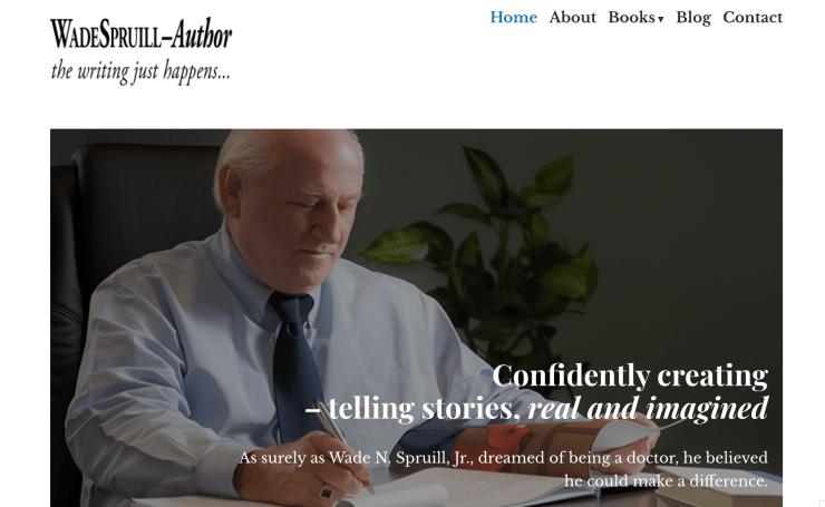 Author Wade Spruill's website screen capture