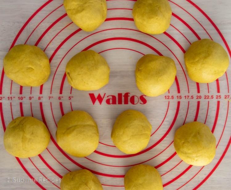 Divide puran poli dough and filling into 12 parts