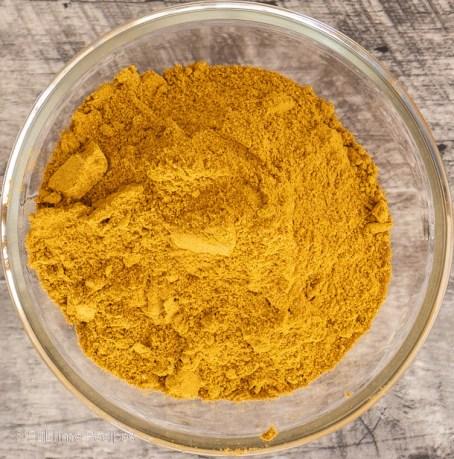 Overhead shot of freshly ground rasam powder