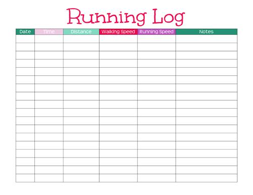 printable running log