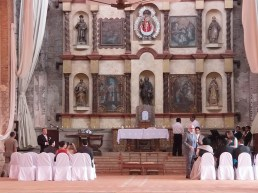A small wedding was happening in the alcove which houses colonial era artwork