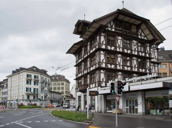 Lucerne: Kasernenplatz#2 Photograph by David Hill, taken 27 May 2014, 14.04 Ruskin's drawing also shows the Baslertor, demolished in 1862. The old house was built in 1679 and is now the workshop of the Von Moos company making fine jewelled pens. It was fully restored in 1986-88.